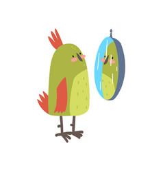 cute bird lookig at mirror funny birdie cartoon vector image