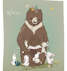 Cute birthday hares and bear vector