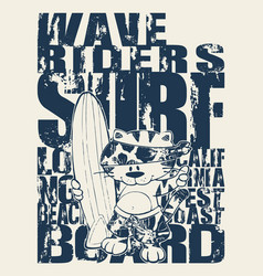 Cute cat california surfing team vector