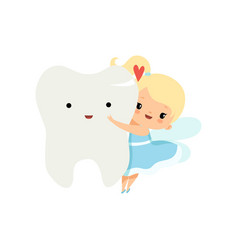 Cute little tooth fairy flying with big tooth vector