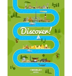 Discover the world poster with famous attractions vector