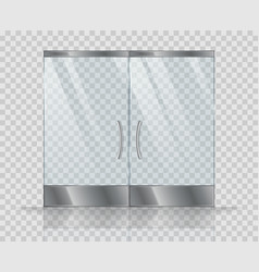 double door clear glass realistic picture vector image