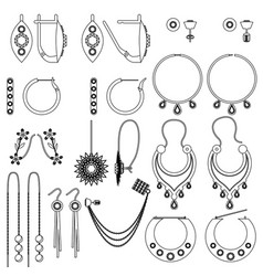 Earring clasps types outline vector
