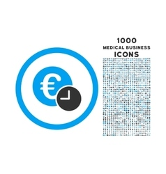 euro credit rounded icon with 1000 bonus icons vector image