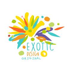 Exotic logo original design summer travel hand vector
