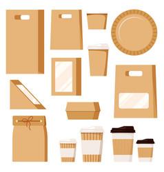 Fast food package set kraft blank take away boxes vector