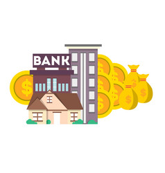 Financial investment banner with bank building vector