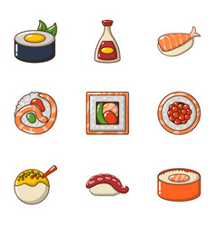 Fish nutritional icons set cartoon style vector