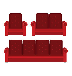 flat sofa isolated on white background vector image