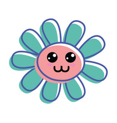 Flower happy cheeks and close eyes vector
