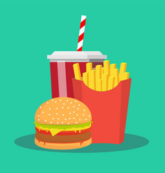 french fries hamburger and soda takeaway vector image