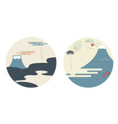 fuji mountain with japanese wave pattern famous vector image