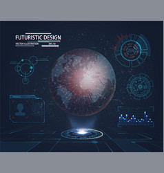 Futuristic interface with planet hologram vector