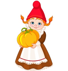 Garden Gnome with pumpkin vector