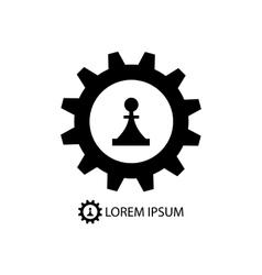 Gear wheel and piece as logo vector