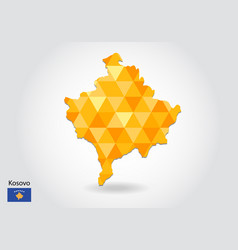 Geometric polygonal style map of kosovo low poly vector