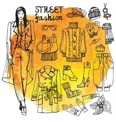 Girl and street fashion clothing setsketchy vector