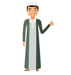 glad arab saudi business man showing thumb up vector image