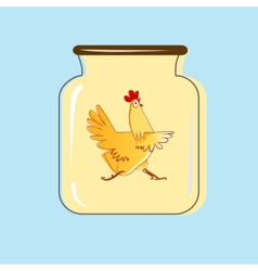 Glass jar with canned chicken design vector