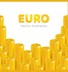 gold euro piles cartoon template vector image