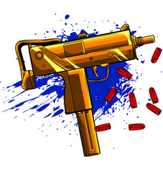 gold uzi army with bullets vector image