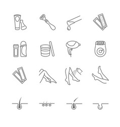 Hair removal tools icons set vector