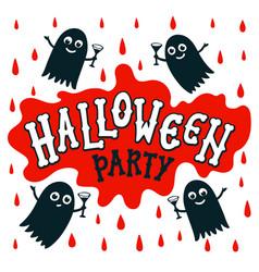 halloween party text banner handwritten letters vector image