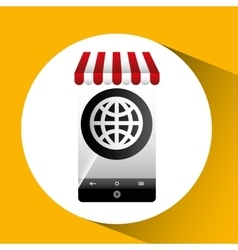 Hand holding e-shopping globe design vector