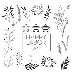 happy labor day label with leafs and stars vector image