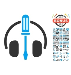 Headphones tuning screwdriver icon with 2017 year vector
