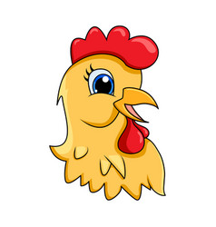 hen head cartoon character design isolated on vector image