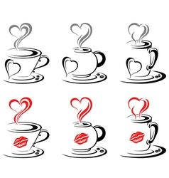 Hot Coffee Mugs Heart vector