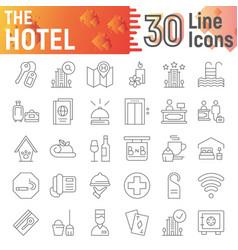 hotel thin line icon set service symbols vector image