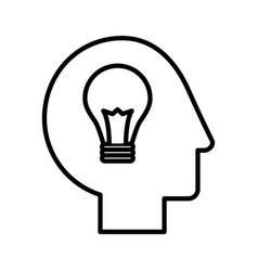 Human head profile with bulb vector