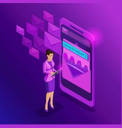 isometric business women look email inbox vector image