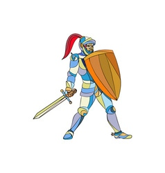 Knight full armor with sword defending mosaic vector