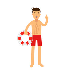 lifeguard man character on duty standing with vector image