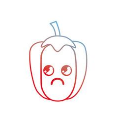 line kawaii cute thinking pepper vegetable vector image