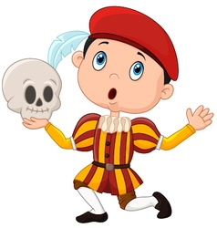 Little boy playing Hamlet in a school play holdin vector image