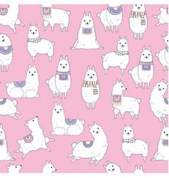 llamas pattern ethnic textile seamless background vector image