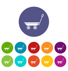 market trolley icons set color vector image
