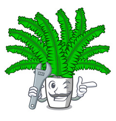 Mechanic fresh fern branch isolated on mascot vector