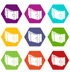 men belt icons set 9 vector image