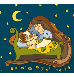 Mother Son Night vector