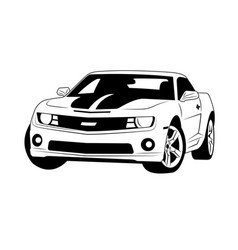 Muscle car line art outline car vector