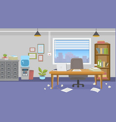 office interior with furniture with mess vector image