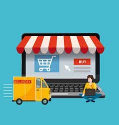 open laptop with a screen of purchase and delivery vector image