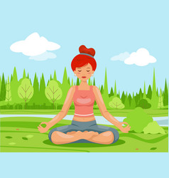 Outdoor park nature meditation cute female girl vector
