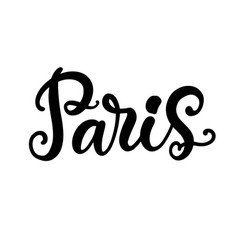 paris city hand written brush lettering vector image