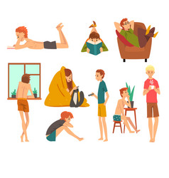 people spending weekend at home and relaxing set vector image